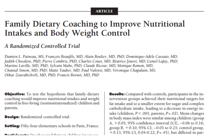 Family dietary coaching improves body weight control